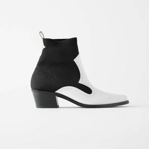 NWT. Zara Leather Contrast Heeled Boots. Size 6,5.